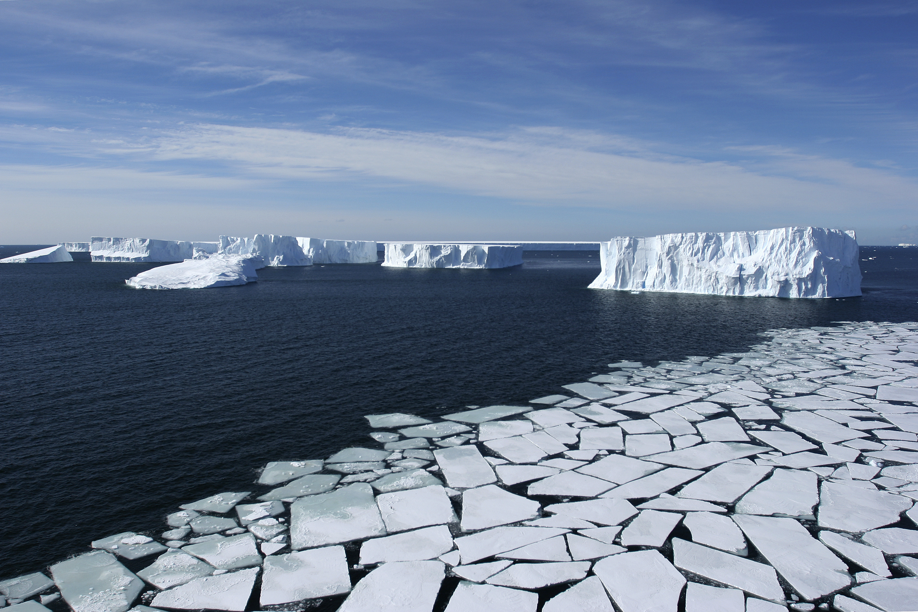 Ross Sea, Antarctica - Aerial View with Pack Ice and Icebergs, Eco Tourism